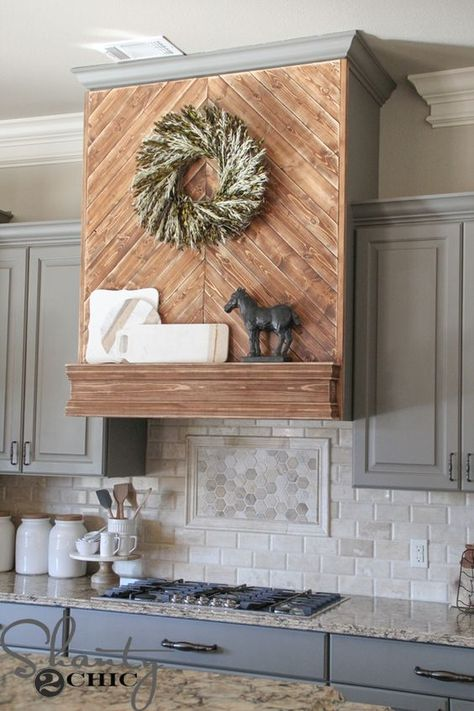 Kitchen Remodel Ideas Wooden Stove Hoods for a Beautiful Custom Kitchen Look - Looking for a custom look in your kitchen? Whether it's painted, rustic, or even faux metal, a stove hood can be the statement piece in your kitchen remodel. Shanty 2 Chic, Wooden Vent Hood, Home Renovation, Home Remodeling, Kitchen Remodeling, Basement Renovations, Kitchen Vent Hood, Kitchen Range Hoods, Kitchen Stove