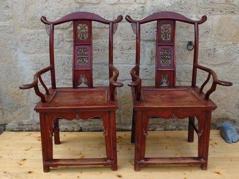 Paar Stühle, China, Qing Dynastie, Esche, rot und silbern gefasst, Gebrauchsspur