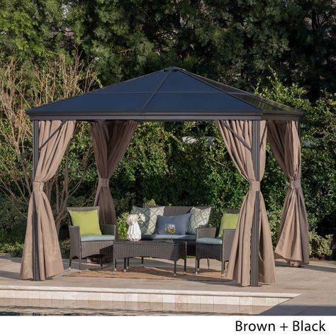 Aluminum Silver Gazebo With Hardtop By Christopher Knight Home Black Frame Brown Fabric 303379