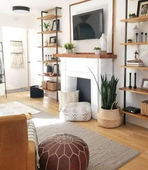 Design Living Room, New Living Room, Home And Living, Small Living, Living Room Ideas, Living Room Decor Ideas Apartment, Living Room Without Fireplace, Living Room White Walls, Living Room Decorations
