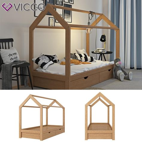 Vitalispa Kinderbett Hausbett Natur 90x200 Cm Schubladen