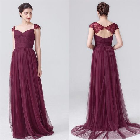 934f48b5f98 Tulle%20Burgundy%20Bridesmaids%20Dresses%20Lace%20Cap%20Sleeves%20Open%