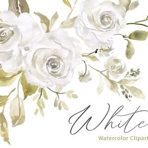 Simple Watercolor Flowers Clipart Roses Floral Clip Art Leaves Branch Bouquet Png Digital Download Hand Painted Wedding Invitation Simple Watercolor Flowers Watercolor Flowers Easy Watercolor