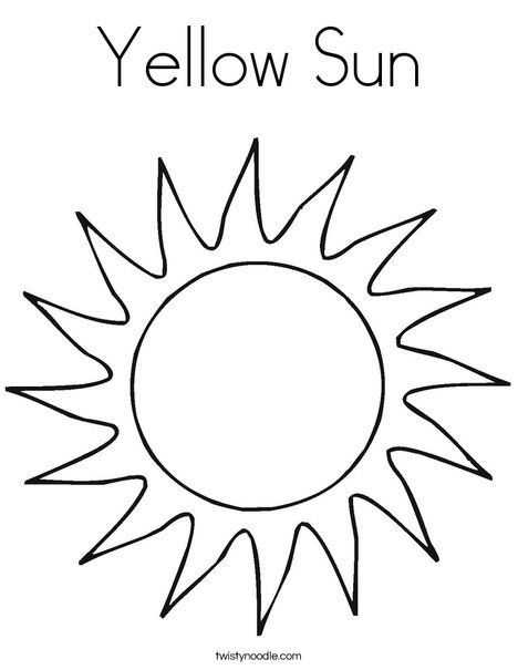 Yellow Sun Coloring Page Twisty Noodle Sun Coloring Pages Moon Coloring Pages Sun Template