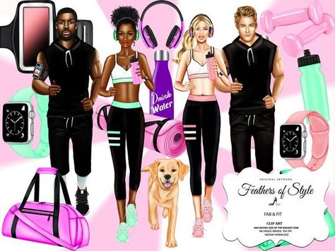 Afro American African American Fashion Clipart Sport Clipart Fashion Blog Fashion Girl Headphones Clipart Watch Bottle Dog