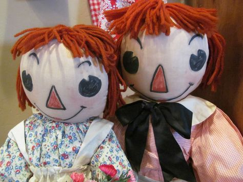 """BEAUTIFUL RARE ANTIQUE HANDMADE 1940's RAGGEDY ANN & ANDY CLOTH DOLLS LARGE 26"""" #DollswithClothingAccessories"""