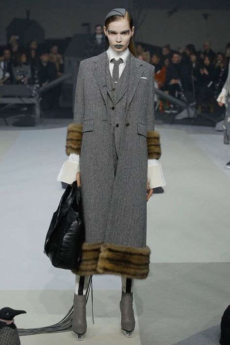 3 piece grey fur trimmed suit / See the complete Thom Browne Fall 2017 Ready-to-Wear collection.