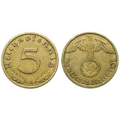 Drittes Reich 5 Reichspfennig 1936 D Ss J 363 Aluminium