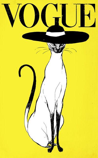 Affiche du magazine Vogue avec une chatte de distinction. Oeuvre de Christina Ung
