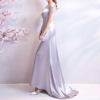 Fioridi Embellished Cold Shoulder Sheath Evening Gown Yesstyle Evening Gowns Gowns Evening Dresses Long