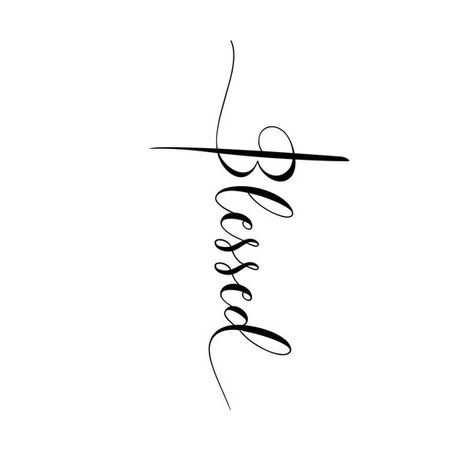 Blessed cross svg, blessed clip art, Blessed Script Cross, SVG, STUDIO, and JPG, Instant Download
