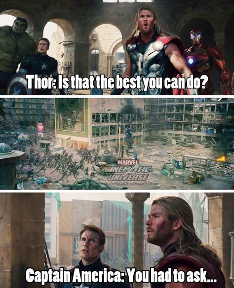 "Cap's face is just like ""Thor, you IDIOT!"""
