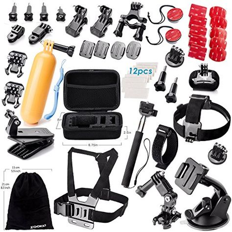 Zookki Accessories Kit for GoPro Hero 5 4 3  3 2 1 Black Silver SJ4000 SJ5000 SJ6000, Sports Camera Accessories Set for Xiaomi Yi/WiMiUS/Lightdow/DBPOWER/ dOvOb