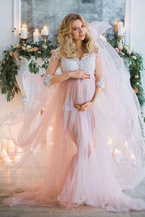 7ba09f82895 Romantic Half Sleeves Pink Long Pregnant Prom Dress