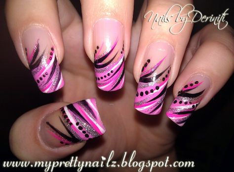 My Pretty Nailz: Diva Tips French Tip Nail Art Design Manicure and Video Tutorial - French Tips, Abstract Nail Art, Abstract French Tips, Ha.