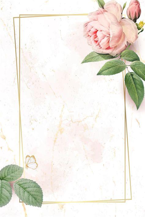 Floral rectangle golden frame vector   premium image by rawpixel.com / nunny #vector #vectorart