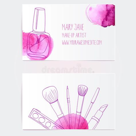 Make up artist business card template. Photo about hearts, modern, brush, background, outline, object, line, illustration, lipstick, cosmetic, fashion, accessory, abstract - 49342437
