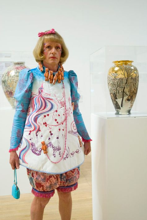 Potter Artist Grayson Perry (British: 1960)   Grayson Perry afforded us the rare opportunity of a visit to his studio in Walthamstow, north-east London. Describing pottery as his gimmick, Perry goes on to show us his process before explaining why he wants people to be able to just enjoy art, rather than having to interpret it.