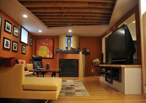 Interesting Ceiling Partial Finish To Add Recessed Lighting Leave The Rest Exposed Hm Low Ceiling Basement Basement Colors Basement Ceiling Options