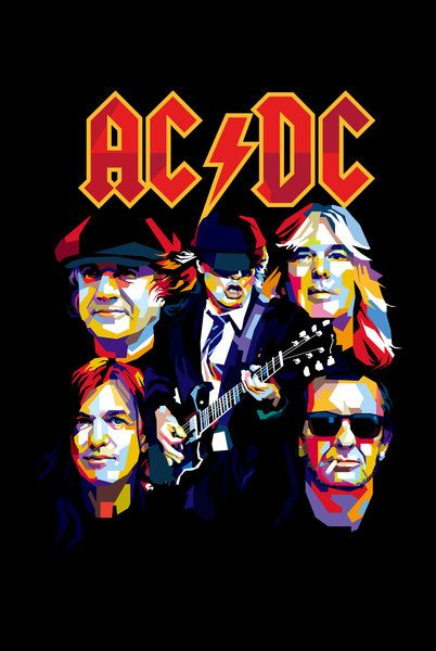 Ac Dc Back In Black By Bennadn Print Image Rock Band Posters Acdc Poster Acdc Wallpaper