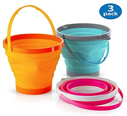 Amazon Com Top Race Foldable Pail Bucket Silicone Collapsible Buckets Multi Purpose 2 Liter Half Gallon Pack Collapsible Bucket Pail Bucket Collapsible Pail