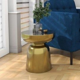 Gold Round Basket Coffee Table With Glass Top Lux Furniture123 In 2020 Drum Side Table Furniture Side Tables Side Table