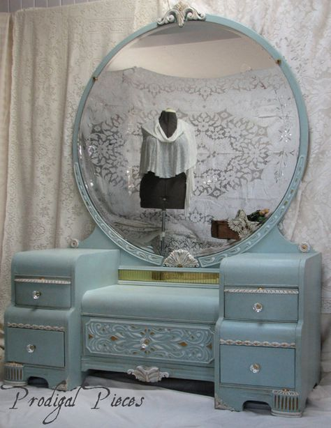 Gorgeous Waterfall Art Deco Vanity Dresser with Bench - Shabby Chic Style featuring Intricate Carvings & Large Round Mirror - (from Prodigal Pieces) - this piece is so gorgeous I am green with good-natured envy...