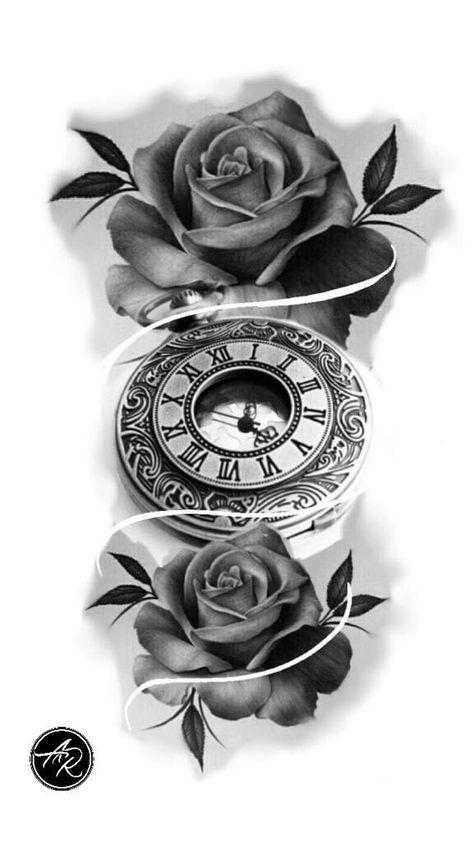 Resultado De Imagem Para Clock Tattoo Designs Tatuagem De Relogio Tatuagem Relogio Tatuagem Relogio Com Rosas