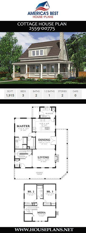 House Plan 2559 00775 Cottage Plan 1 915 Square Feet 3 Bedrooms 2 5 Bathrooms Cottage House Plans Small Cottage House Plans Cottage Plan