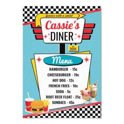 1950 39 S Retro Diner Teal Yellow Amp Red Menu Card Retro Diner Diner Menu Diner Sign