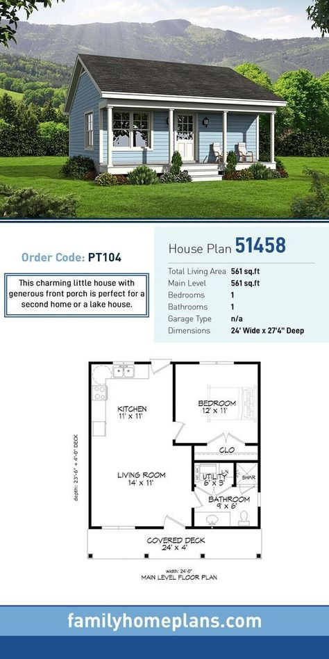 Currently, our most-popular house plans on Pinterest are tiny home plans with under 600 square feet of living space!     Are you looking for a small vacation home plan or a mother-in-law cottage plan? Do you want to simplify your