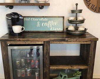 Custom Build Coffee Bar Rustic Cabinet Small Refrigerator
