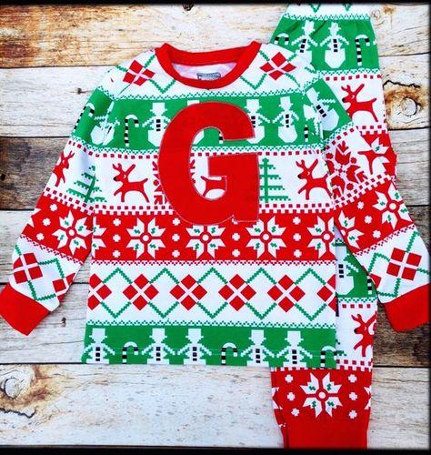 b15dc6e2b Giant red letter Christmas Pajamas Ugly Christmas Sweater Monogram green  Christmas pajamas Santa Pho