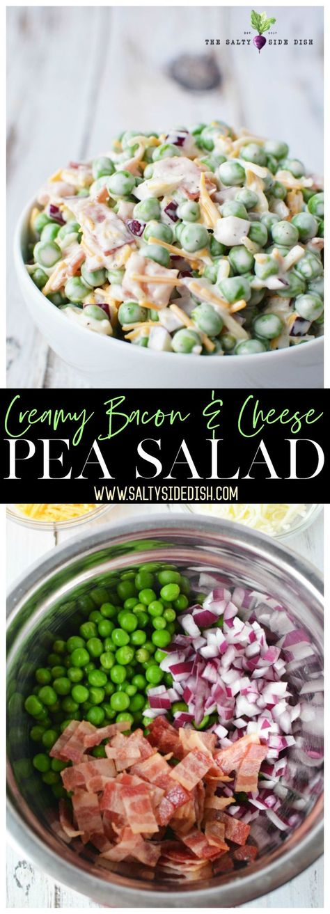 Pea Salad is a quintessential recipe for spring and summer with its creamy texture and taste. And talk about an easy recipe! If you can mix, you can make, which means its done in mere minutes to free you up for summer fun. #salad #sidedish #summer #peasalad #peas #veggies