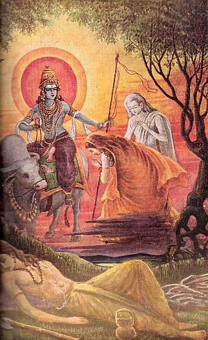 Savitri And Yama With Images Indian Paintings Indian Gods