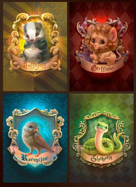 Hogwarts Cute Babies House Crests Prints - Harry Potter Nursery Decor