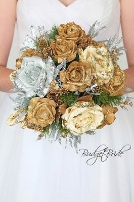 Silver And Gold Glitter Bridal Bouquet Wedding Flowers For Cheap