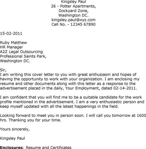 Sample Cover Letters for Employment Sample Cover  - new letter format for request to cheque book