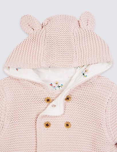 Baby White Chunky Knitted Cardigan With Hood
