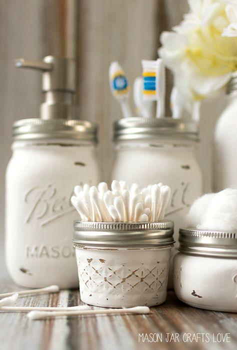 mason jar bathroom storage & accessories | mason jar crafts