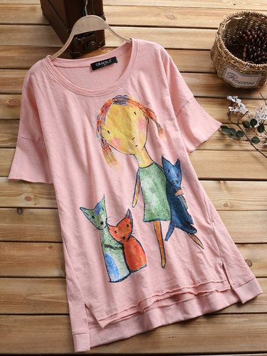 Round Neck Floral Print Casual Shirts Tops Fashion Womens Women S Clothing T Shirts Casual Shirts And Tops Casual Tops For Women Floral Print Tops