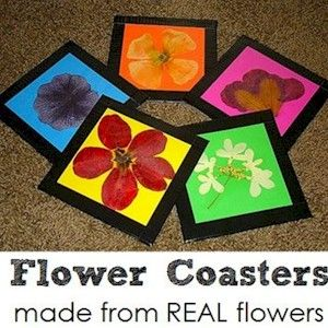 Make Flower Coasters with real flowers and craft foam