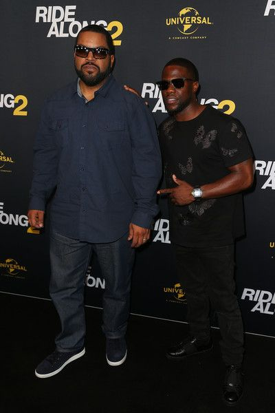 Ice Cube (L) and Kevin Hart arrive ahead of the Ride Along 2 Australian Premiere at Hoyts Melbourne Central on February 10, 2016 in Melbourne, Australia.