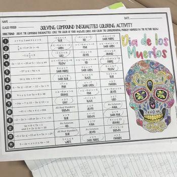 Solving Compound Inequalities Dia De Los Muertos Halloween Algebra Activity Algebra Activities School Algebra Math Materials