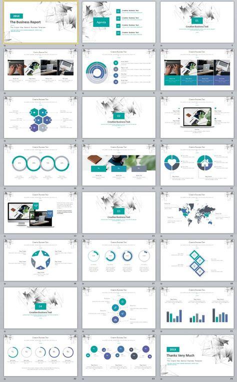 24 Blue Business plan report PowerPoint template