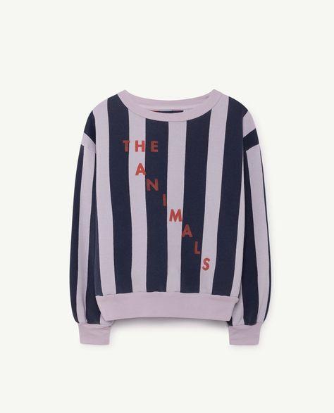 f70f5632e311 The Animals Observatory - Bear sweatshirt - purple navy stripes ...