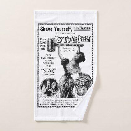 Vintage Shaving Hand Towel Zazzle Com Vintage Shaving Hand Towels Custom Towel