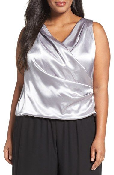 Free shipping and returns on Alex Evenings Drape Surplice Blouse (Plus Size) at Nordstrom.com. A surplice neckline gathered to side pleats defines the elegantly draped style of a luminous sleeveless blouse that will light up your evening look.