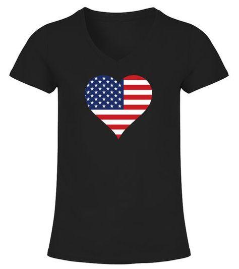 American Heart Flag USA  -  V-neck T-Shirt Woman  #Shirts #TShirts
