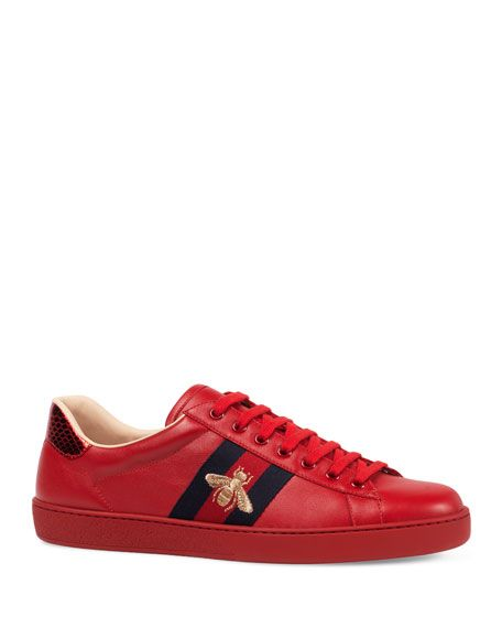 Gucci Ace Red Embroidered Leather